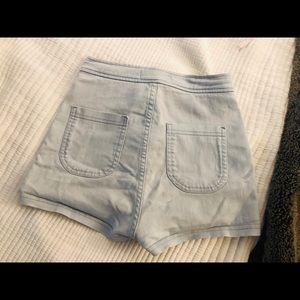 American Apparel high waisted light wash shorts